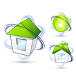 houses with orbit rings vector image vector image