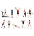 Sport gym people set with dumbbells barbells and vector image