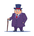 Cartoon Businessman Character with Cane and Top vector image