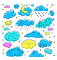 cloud hand drawn clouds icons set childrens sky vector image