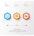 Computer icons set collection of desktop vector image