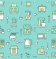kitchen utensil small appliances green seamless vector image