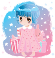 little cute girl with big eyes vector image