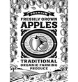Retro apples poster black and white vector image