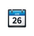 June 26 Calendar icon flat vector image vector image