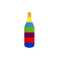 Bottle of alcoholic drink on colorful strips vector image