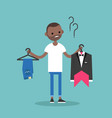 difficult choice young black man trying to decide vector image