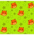 Funny seamless pattern with cute fox faces vector image