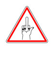Attention to sign warning of dangerous vector image