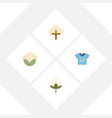 flat icon fiber set of fluffy blouse cotton and vector image