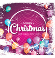 Merry christmas poster on red background vector image