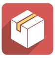 Package Flat Rounded Square Icon with Long Shadow vector image