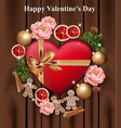 valentines day card heart gift box and roses on vector image