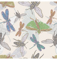 vector seamless background with insects vector image
