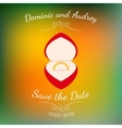 wedding golden ring in a red box over vector image