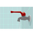 realistic of faucet on the blue wall with water vector image