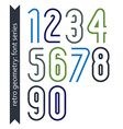 Colorful delicate retro numbers set light classic vector image