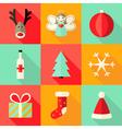 9 Christmas Flat Icons Set 4 vector image
