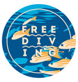 free diving and snorkeling design concept and fins vector image