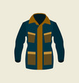 green jacket winter icon on yellow background vector image