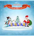 santa claus and snowman vector image