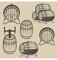 set of barrels in vintage style vector image