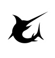 Swordfish isolated black silhouette vector image