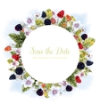 Watercolor round berry frame vector image