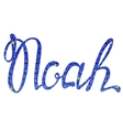Noah name lettering blue tinsels vector image