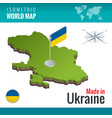 isometric map and flag of the ukraine sovereign vector image