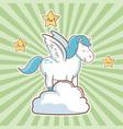 cute unicorn over cloud fantasy stars striped vector image