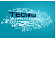 Electronic Techno Music Styles Word Cloud Bubble vector image