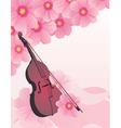 pink flowers violin vector vector image vector image