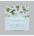 Christmas Invitation Card - Winter Birds vector image vector image