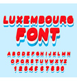 Luxembourg font Luxembourgen flag on letters vector image