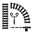 black objects for rail road icons set vector image