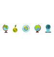 earth globe icon set flat style vector image