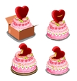 Pink cake with red biscuits in shape of heart vector image