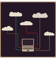 Retro style cloud computing concept vector image