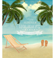 Vintage seaside background with a beach chair and vector image