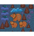Decorative seamless pattern with bears and fishes vector image