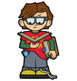funny nerd boy in a glasses with books vector image