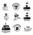 Pet grooming logo label bages black emblem vector image