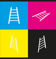 ladder sign   white icon with vector image