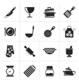 Black Cooking Equipment Icons vector image vector image