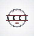 aceh badge indonesia label theme vector image