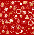 christmas red icon seamless pattern winter vector image