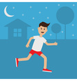 Funny cartoon running guy Night summer time House vector image