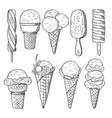 hand drawn set of ice creams vector image