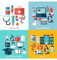 Set of bright flat medical icons vector image